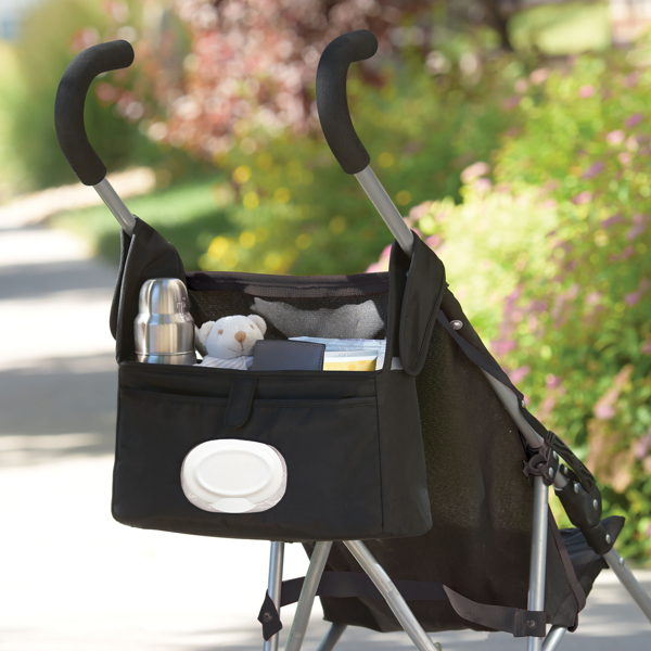 child with stroller organizer